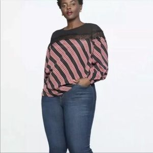 NEW Eloquii ref & black stripe top lace sheer top
